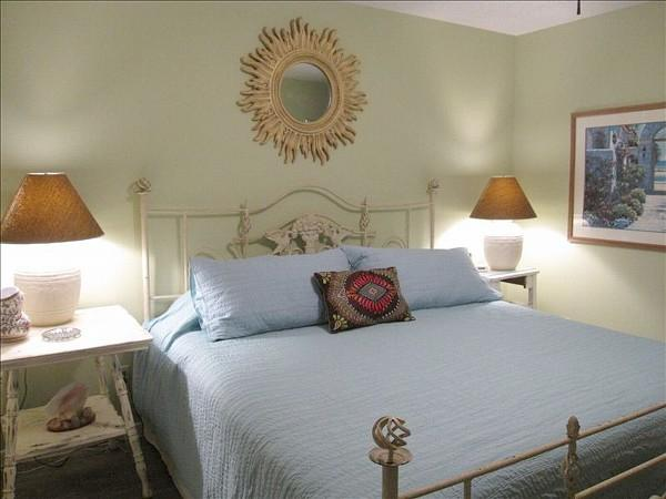 Beachy chic bedroom has new king sized bed and television!