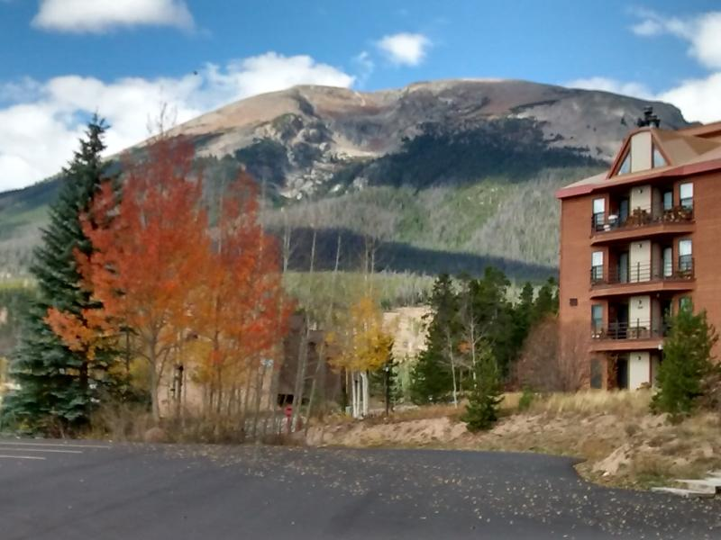 Autumn view of Buffalo Mountain from parking lot