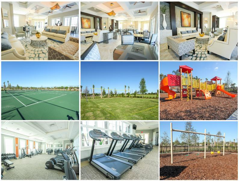 Club house community amenities. Living room, tennis, volley, and soccer curt, playground, and gym.