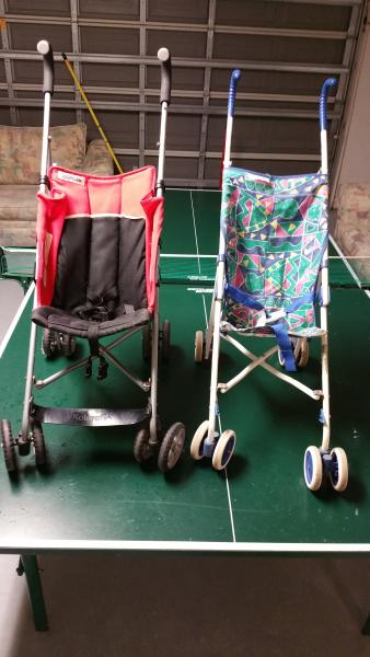 Baby Stroll Carts on Ping Pong Table