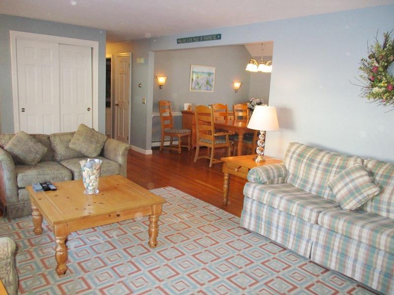 Open concept woonkamer, allemaal op een verdieping - 14 Deer Run South Harwich Cape Cod New England vakantie