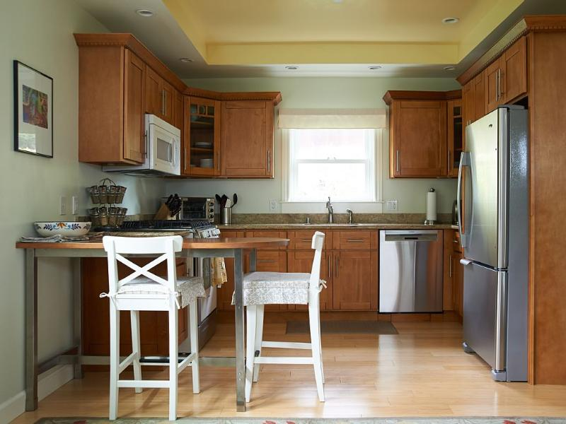 Kitchen with granite and Stainless steel appliances.  Also fully equipped with small appliances.