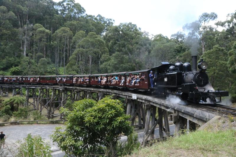You can ride Puffing Billy steam train from our village station.