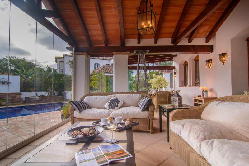 Folding sliding glass doors on elegant terrace