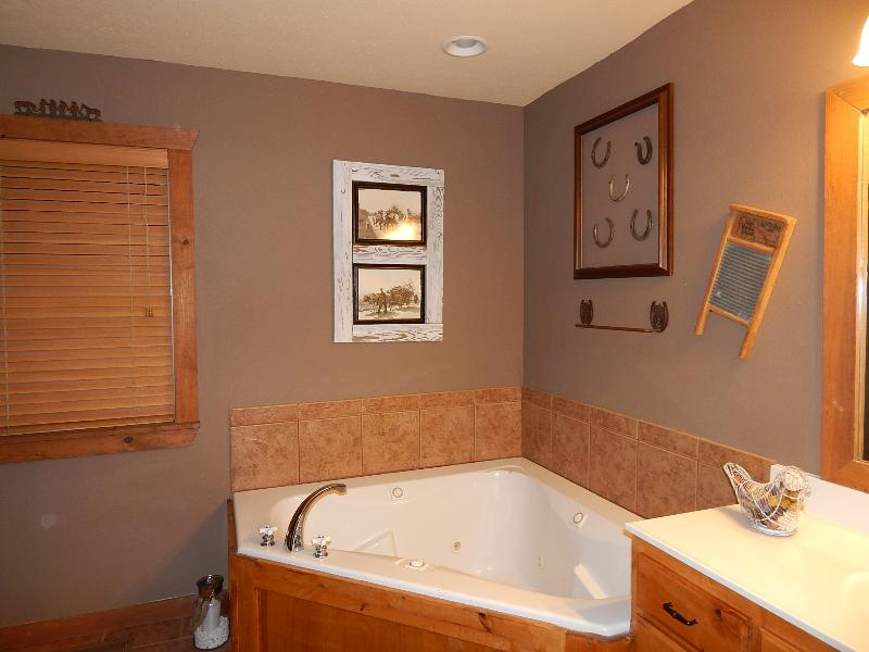 Master Bathroom Suite on lower floor with Whirlpool jetted tub