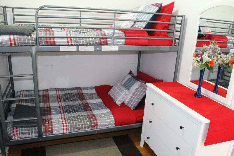 Bedroom with Double Bed and Two Single Beds
