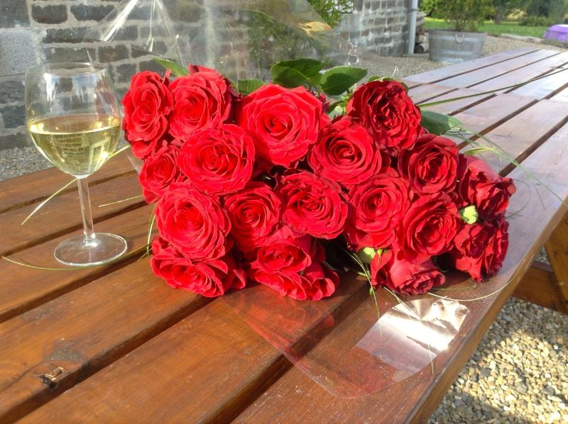 L'Auberdiere at Valentines Day. Roses fresh from the weekend markets at Bayeux.