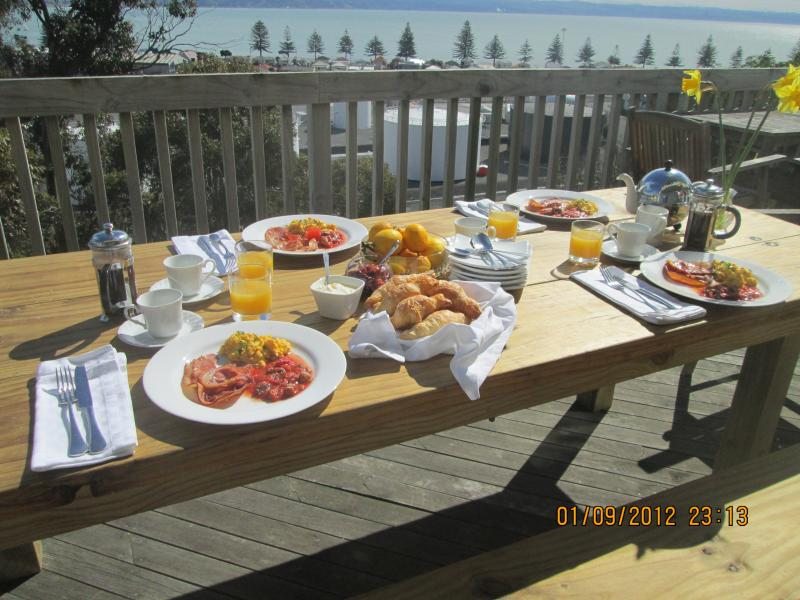 You can enjoy breakfast on the deck when its warm.