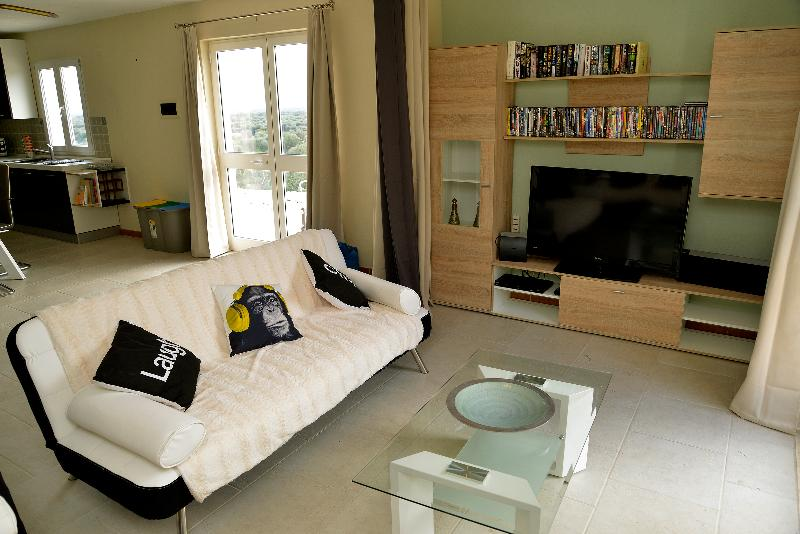 TV area/third bedroom converted with the use of blackout curtains.