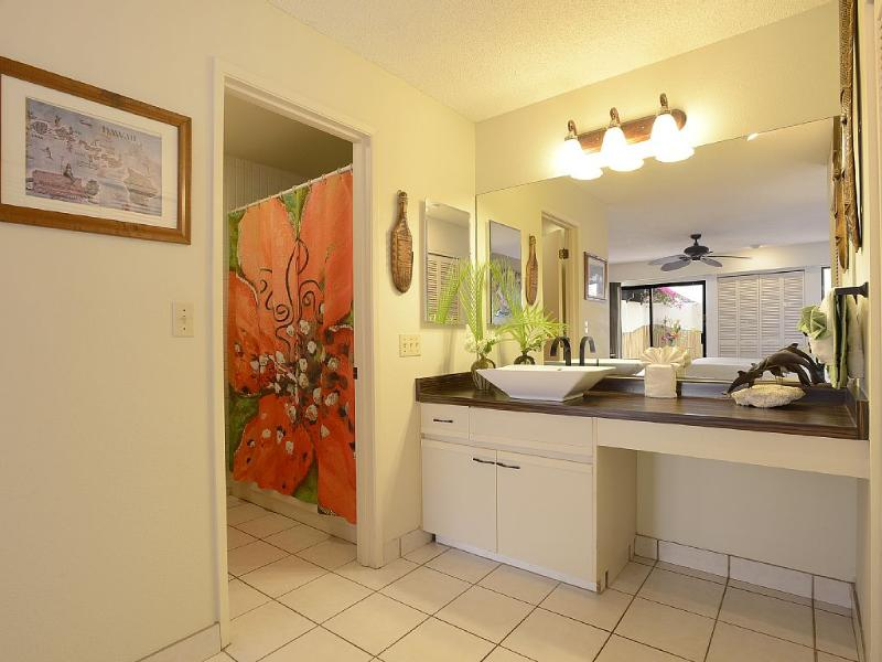Newly remodeled master bath has tub and shower