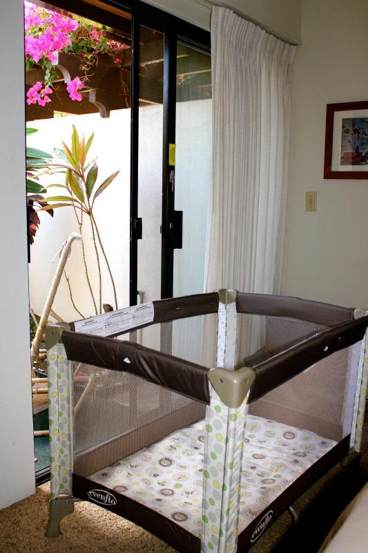 Portable, fold-up crib is in condo bedroom closet