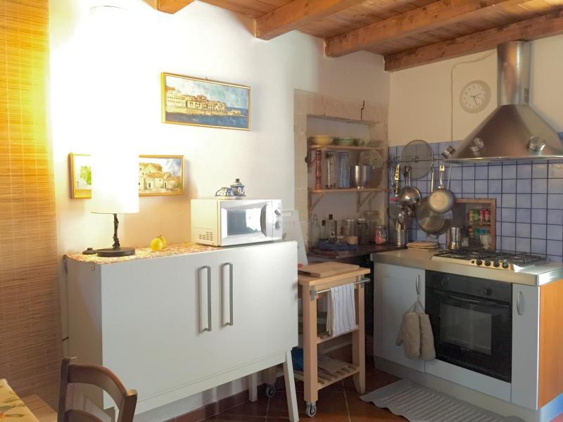 Small very equipped kitchen. Microwave, toaster, electric kettle