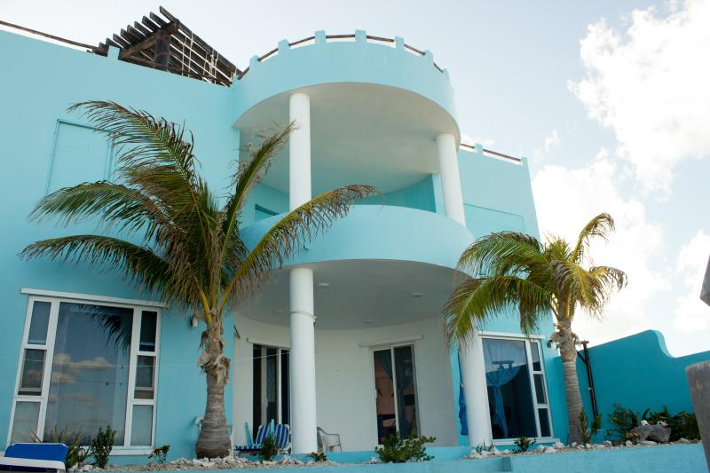 Beautiful Casa Cielo viewed from Caribbean beach behind house