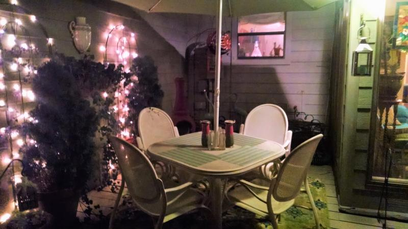 Deck seating area, evening