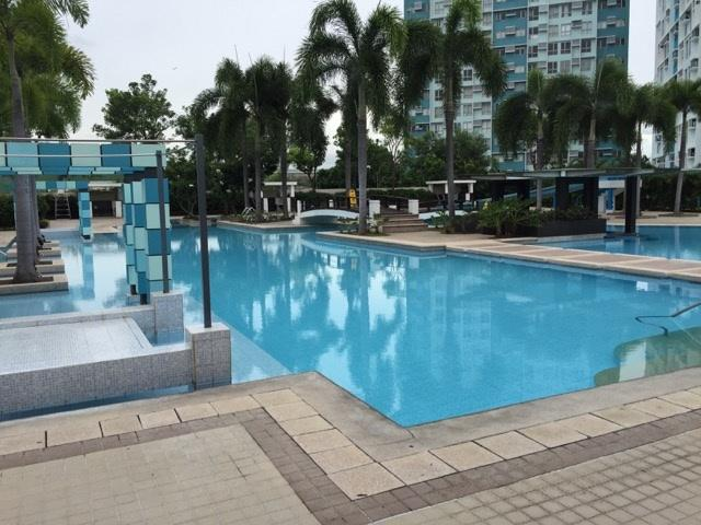View from the club house, to the pool area, showing the huge resort style pool