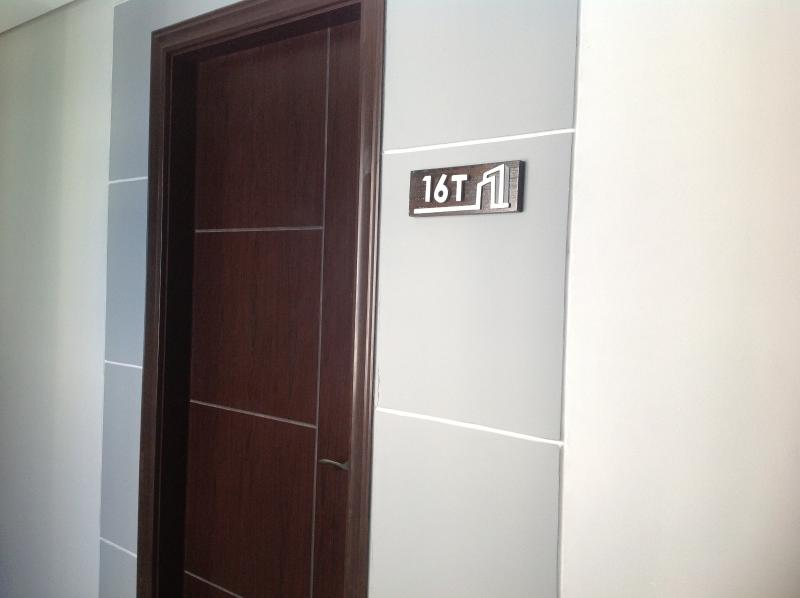 Entrance door to Unit T16 to a cozy and unforgettable vacation.