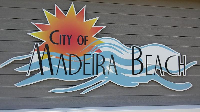 Across from condo the new Madeira Beach Municipal entrance that has access to Roc Recreational Park