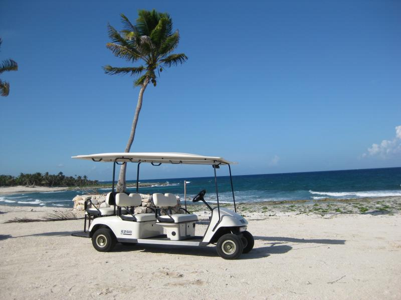 Golf cart provided for your use around the Sirenis Resort