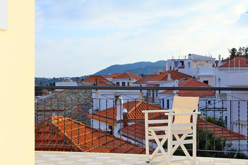 TOP FLOOR: View to the traditional town from the roof terrace.