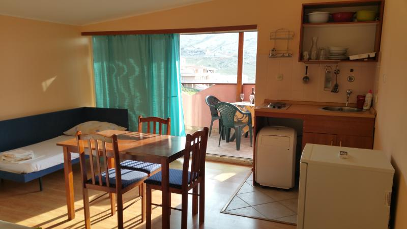 Cosy studio for 3 with a beautiful seaview, location de vacances à Metajna