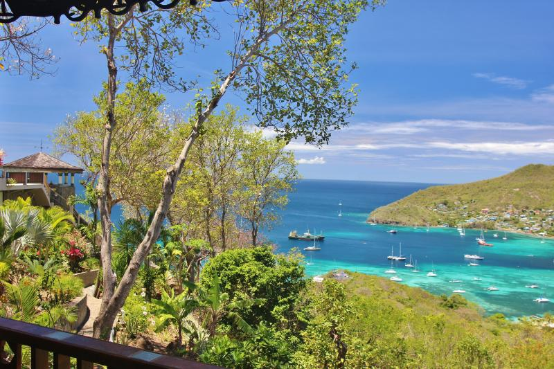 Stunning views of the Gazebo,  Caribbean Sea and Admiralty Bay from Palm Cottage veranda