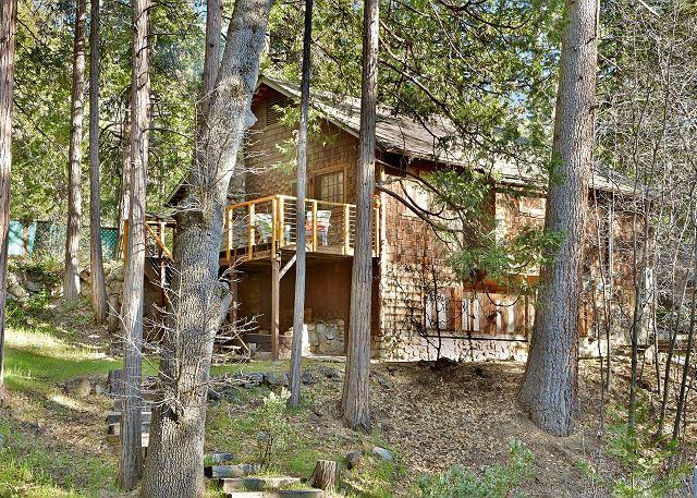 Nestled in the middle of tall pines, this cabin is walking dista