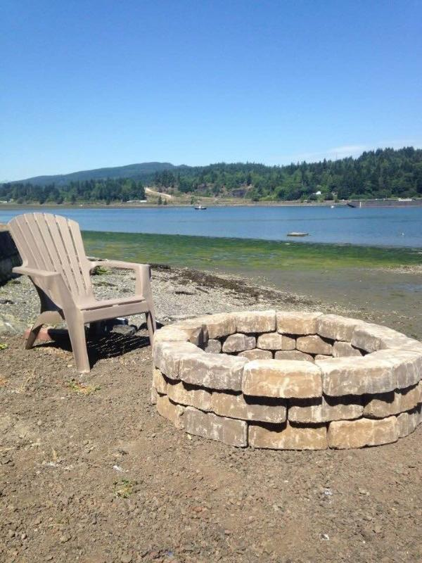 fire pit on the bay