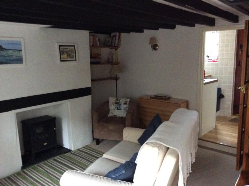 Front lounge with fireplace and through to  kitchen