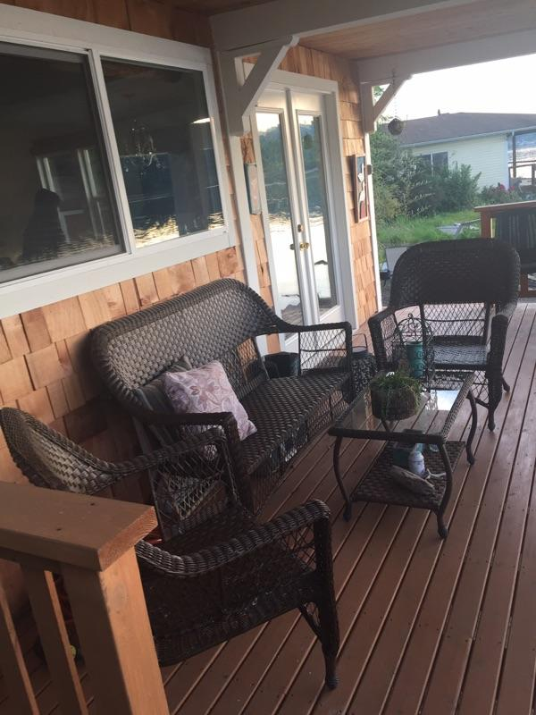 Covered porch, perfect for eagle watching and morning coffee.