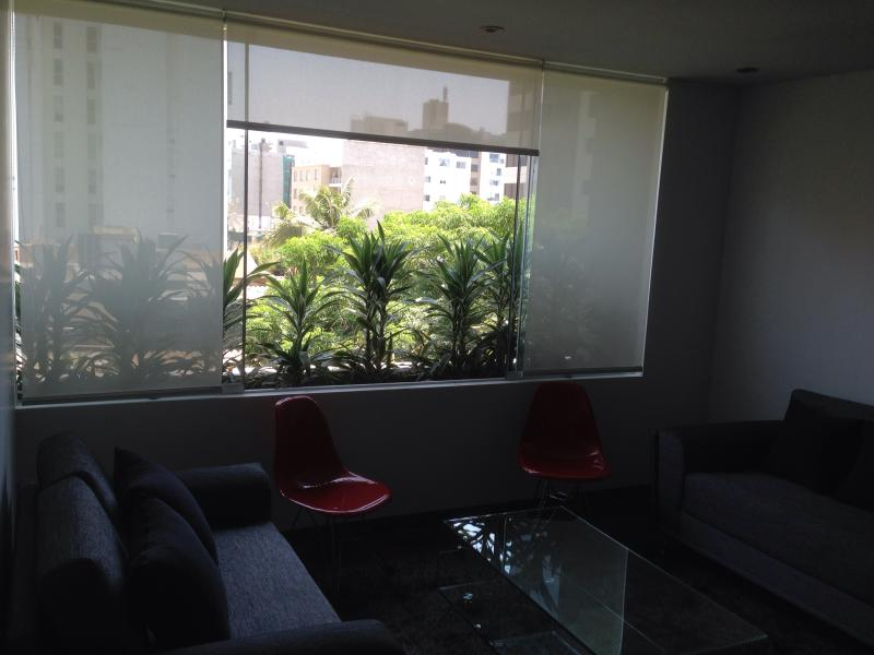 Long garden outside the window with a view to the outside of Miraflores.