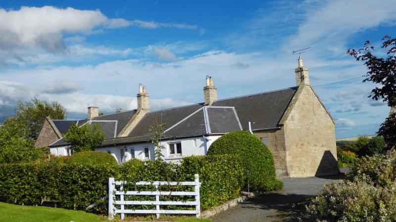 Babingtons Cottage with south facing views on to the Cheviot hills.  North facing to the Lammermuirs