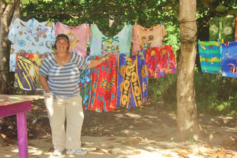 Lovely Fay selling some of her souvenirs on Princess Maraget Beach