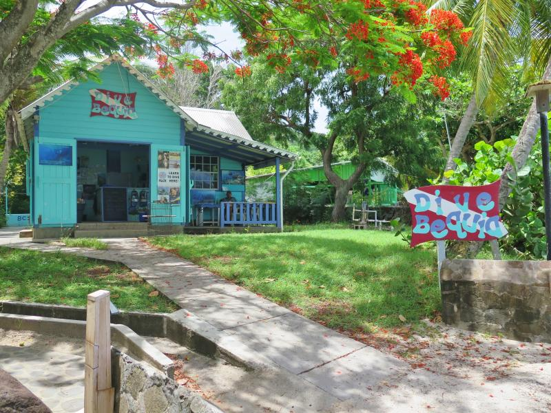One of the two diving and snorkeling shops on Bequia