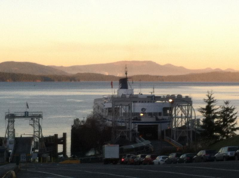 Ferry arrived in Village Bay, Mayne Island. Only 3 km to the cottage!
