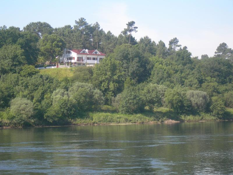 View of our property from the river beach on the Spanish side of the River Minho