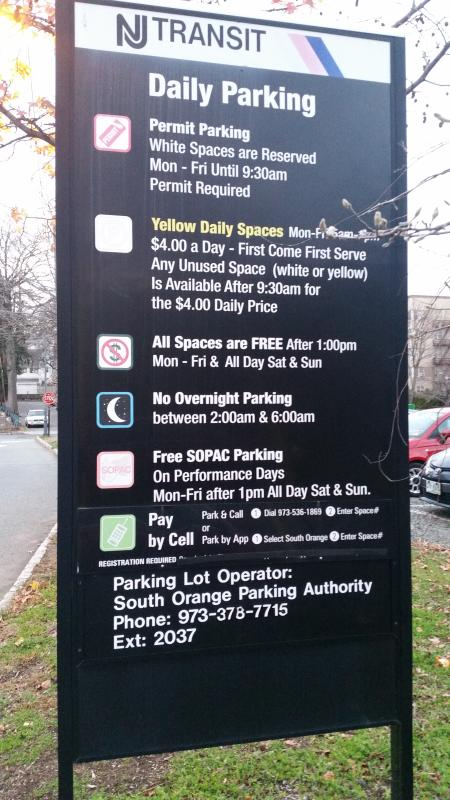 Free parking @ South Orange station (1pm to mid night) to Manhattan in 15 min (Approx.).