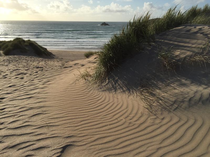 Crantock beach and sand dunes in the evening