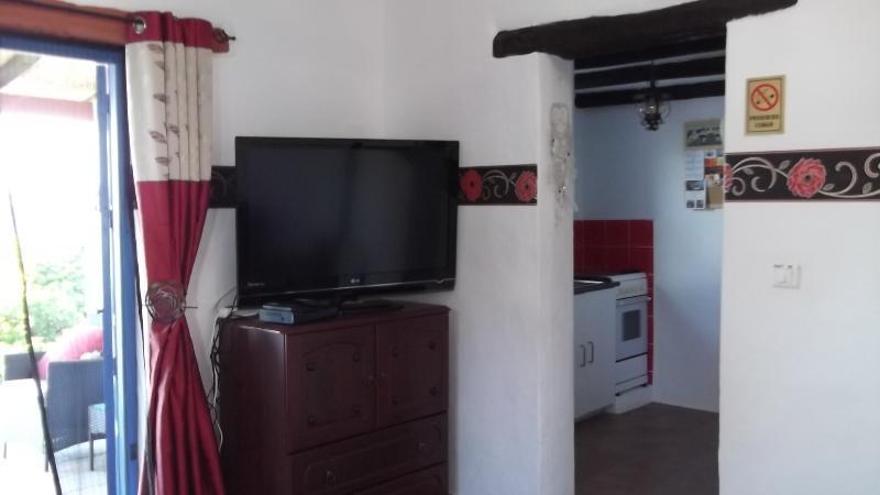 """Sala de estar com 42"""" Smart TV. WIFI. Leitor de DVD, etc. A entrada para Cozinha Completamente Equipada."""