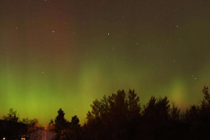 Northern light over the lake in october