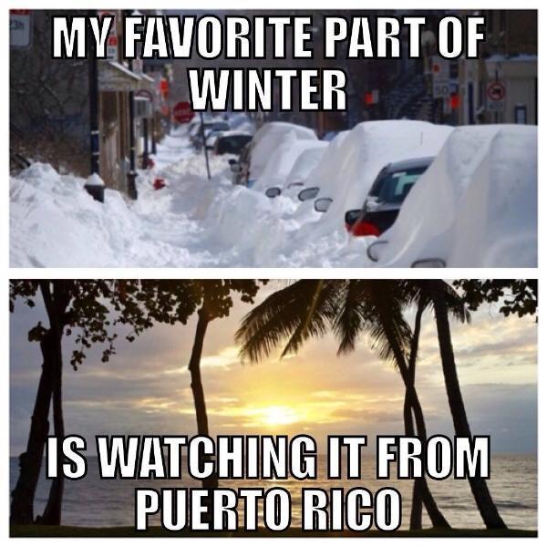 Ma partie préférée de l'hiver est à regarder à partir de Puerto RICP !!