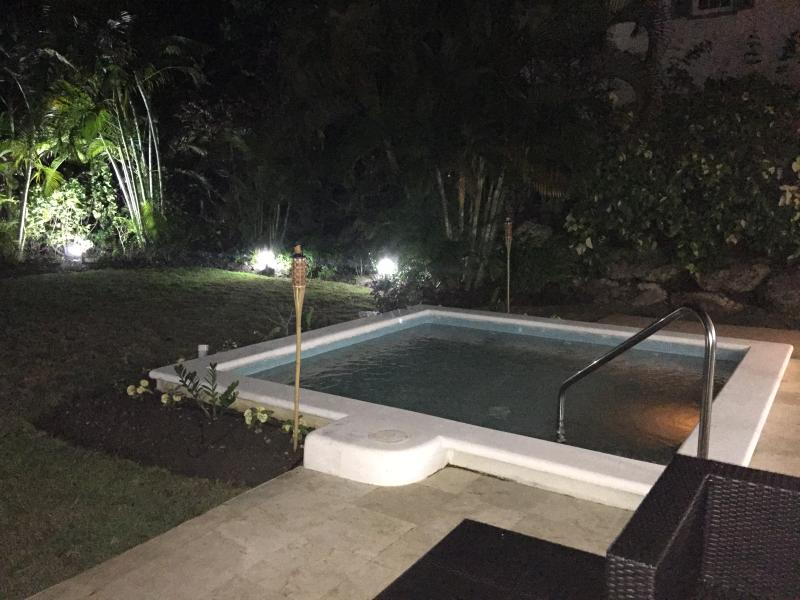 The Pool and garden lit for evening relaxation