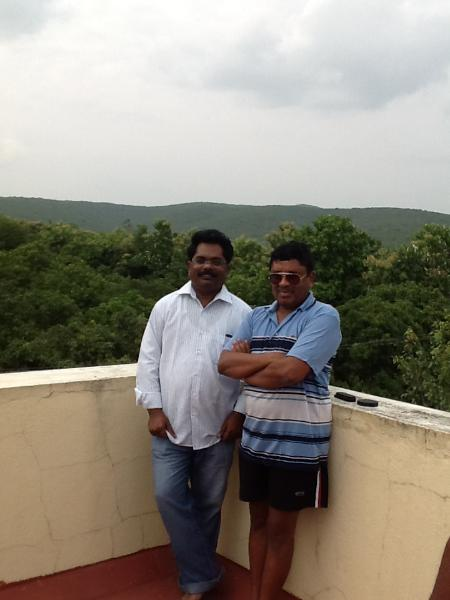 Terrace view overlooking Gudiyam caves, with Ramesh, whose documentary was screened in Cannes