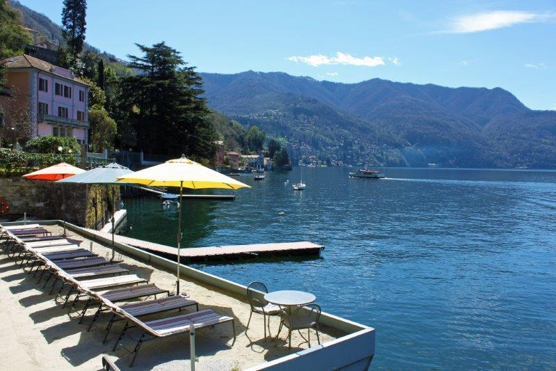 Lake Como Beach Resort private beach and sand lido / boat dock for swimming