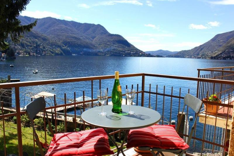 Private balcony off the master bedroom with spectacular Lake Como views.