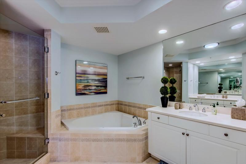 Master Bath.  Complete with soaking tub for two, dual vanities and separate shower.