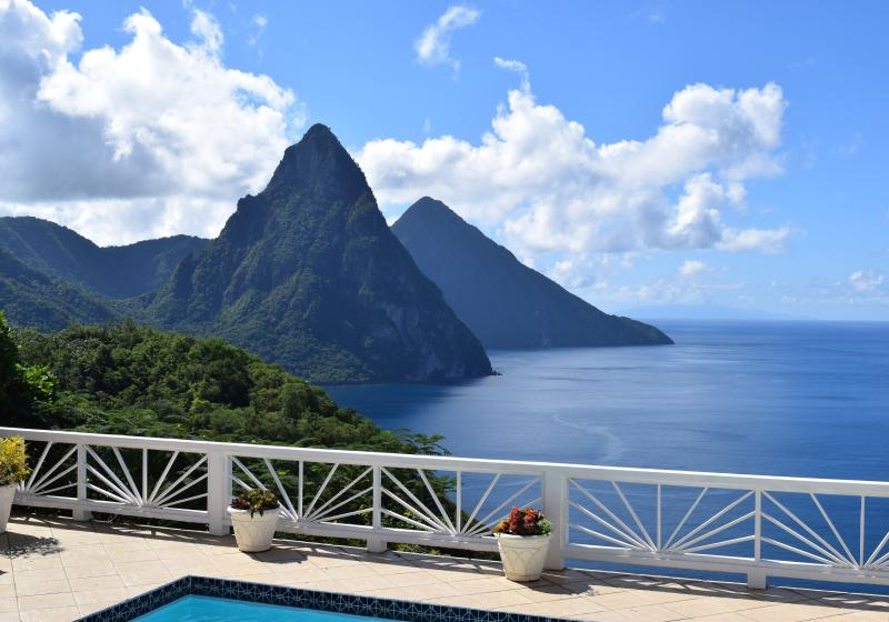 Another sunny day, enjoying our amazing view of both Pitons from the pool deck