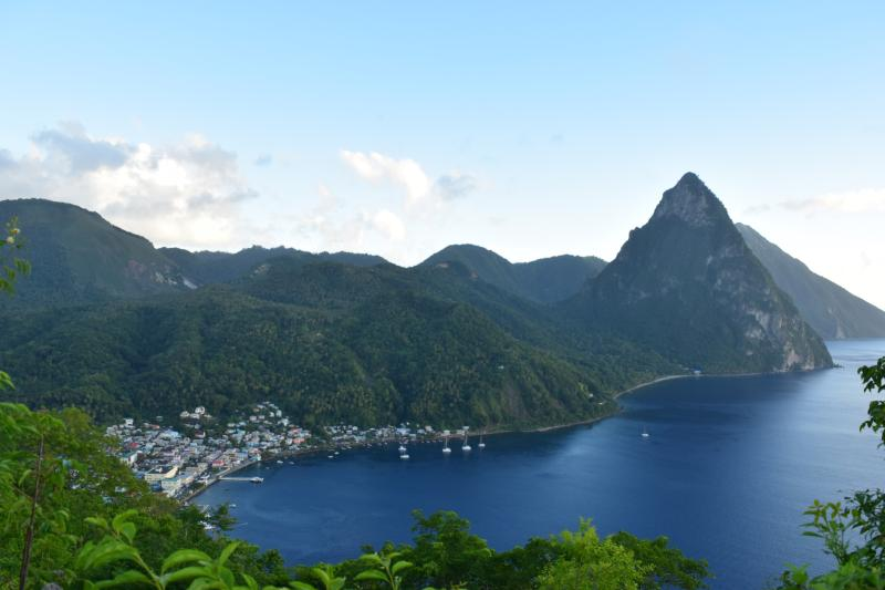 The local village of Soufriere, nestled in the bay near the Pitons