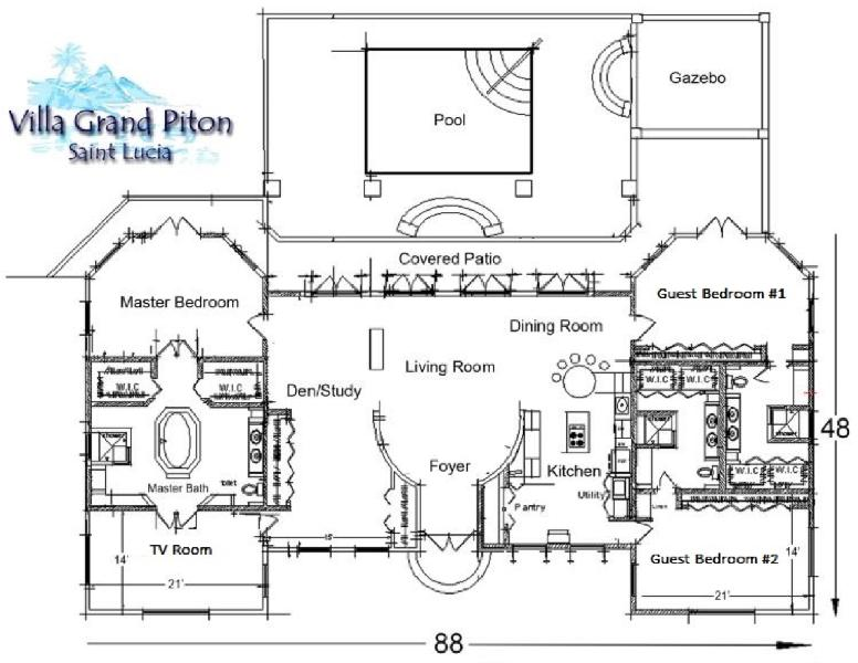 Floor plan with approximate dimensions. On one level except three steps to pool