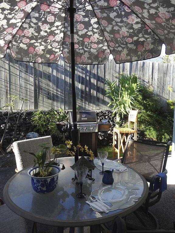 Enjoy outside dining, and BBQing the very fresh local fish, in your garden.