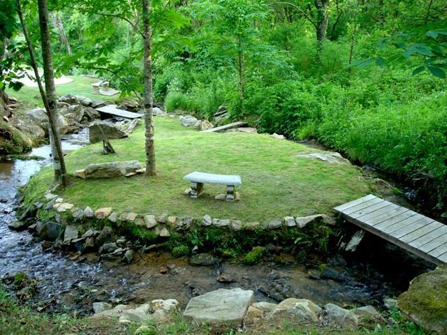 Enjoy the trickling creek & Meditation Island!